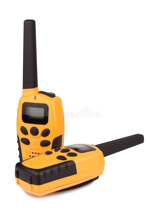 Paia del walkie-talkie giallo isolate fotografia stock