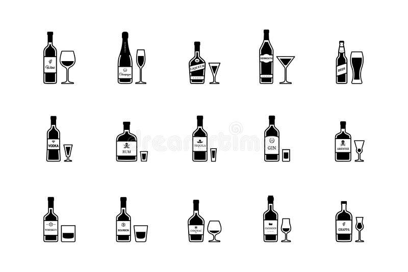 Paia della bottiglia e del vetro delle bevande alcoliche, icone in bianco e nero Vettore illustrazione di stock