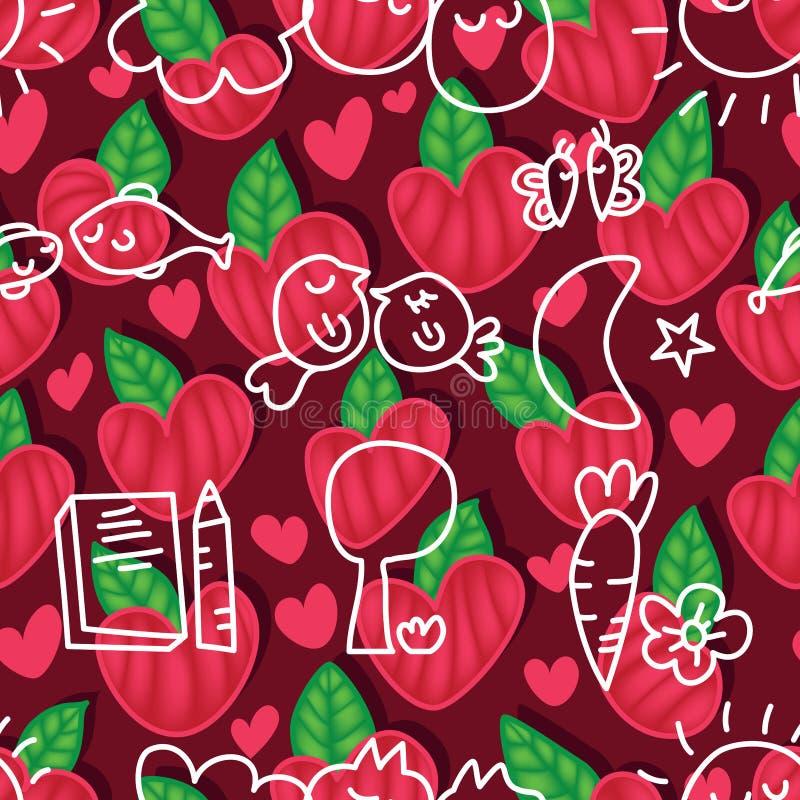 Paia della pianta di amore che disegnano modello senza cuciture illustrazione vettoriale