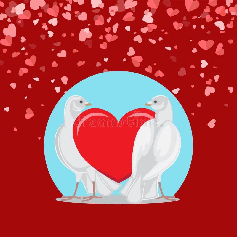 Paia delle colombe bianche e del simbolo rosso di amore sul blu illustrazione vettoriale