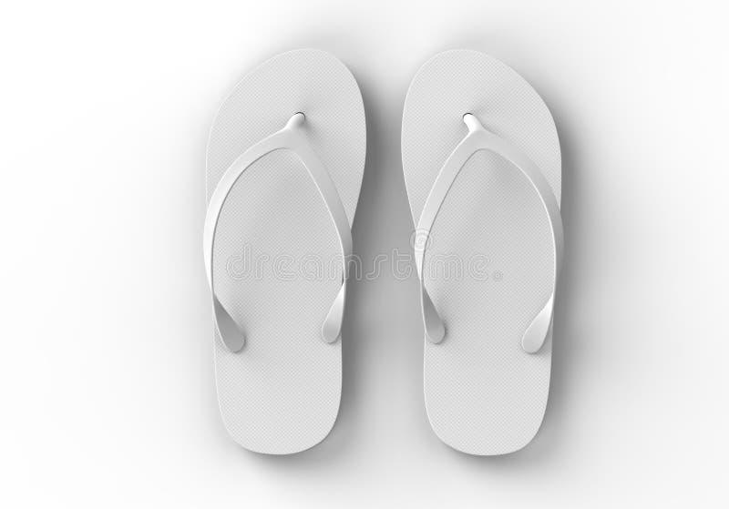 Paia delle pantofole bianche in bianco della spiaggia, derisione di progettazione su, percorso di ritaglio, illustrazione 3d I Fl illustrazione vettoriale