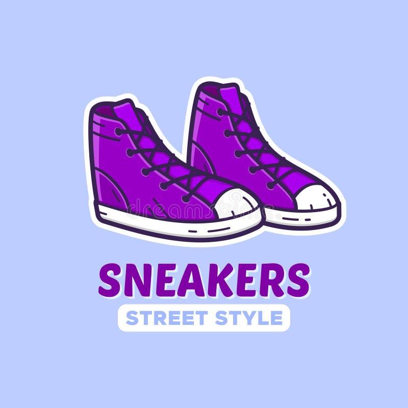 Paia delle scarpe da tennis Icona di vettore o logo del negozio di scarpe illustrazione di stock