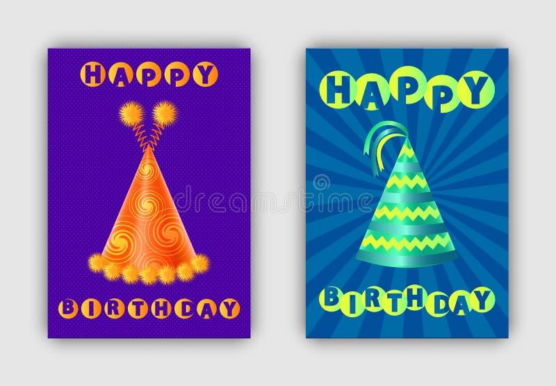 Paia di buon compleanno delle carte variopinte dei cappelli festivi illustrazione vettoriale