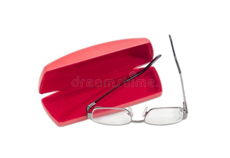 Paia moderne degli occhiali e della cassa rossa di vetro immagine stock libera da diritti