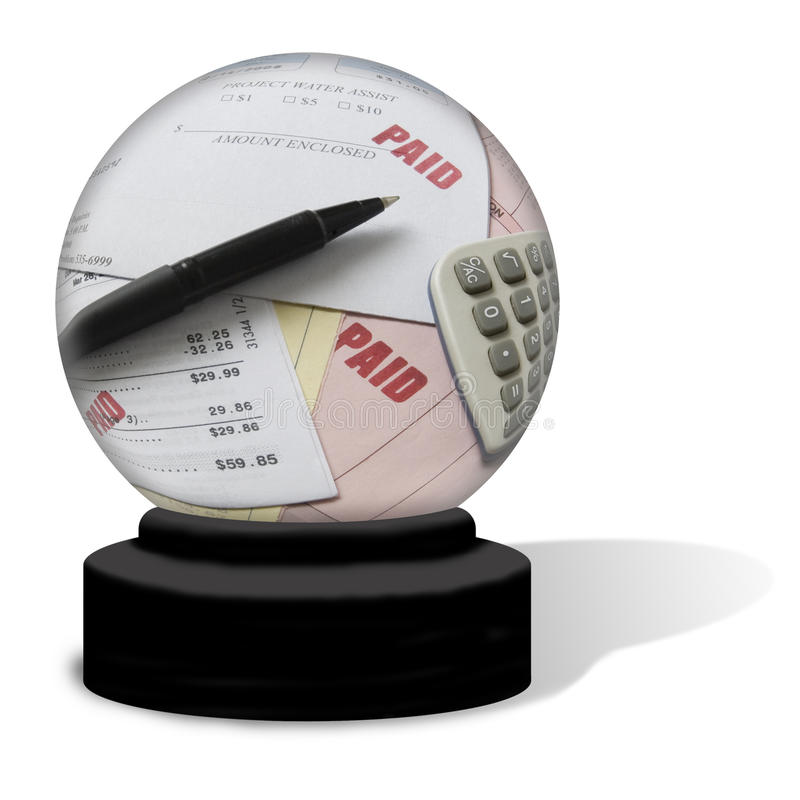 Paid Bills Crystal Ball royalty free stock photo