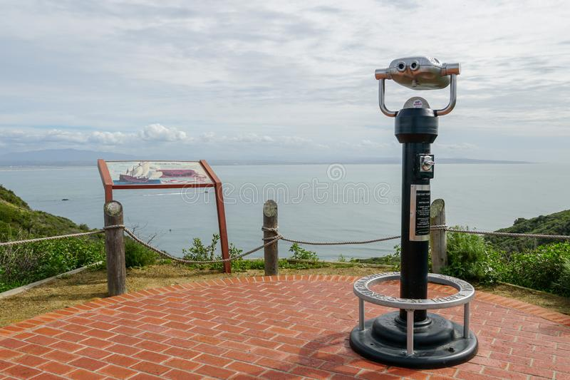 Paid binocular telescope on the tip of the Point Loma Peninsula in San Diego, California, USA. stock photography