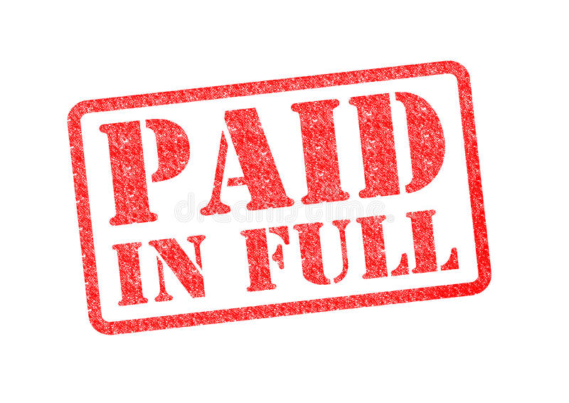 PAID IN FULL. Red rubber stamp over a white background vector illustration