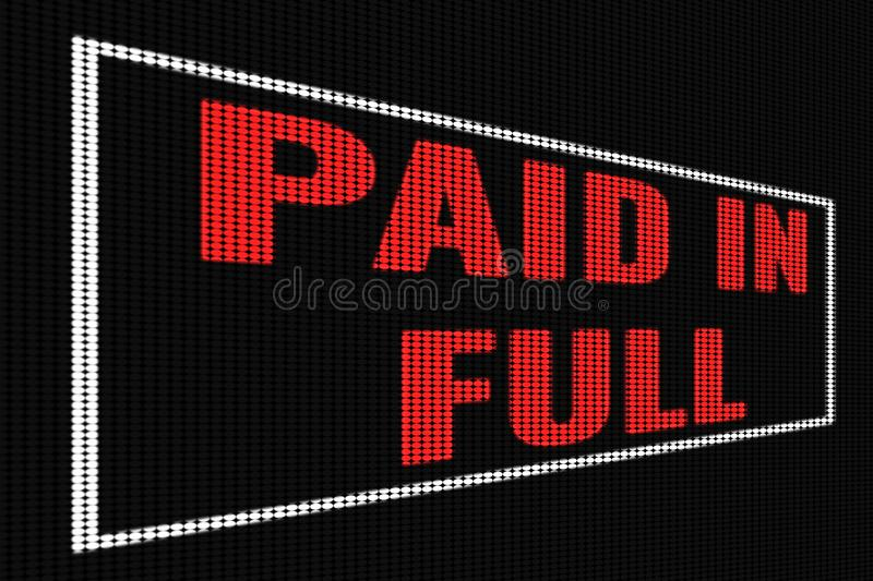 Paid in full red text on dark screen. Tv effect vector illustration