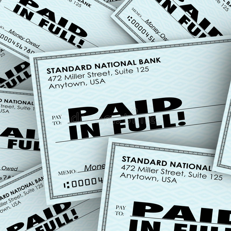 Paid in Full Words Check Money Bills Pile Paying Owed Obligation. Paid in Full words on checks in a pile to illustrate money owed and being recouped with vector illustration