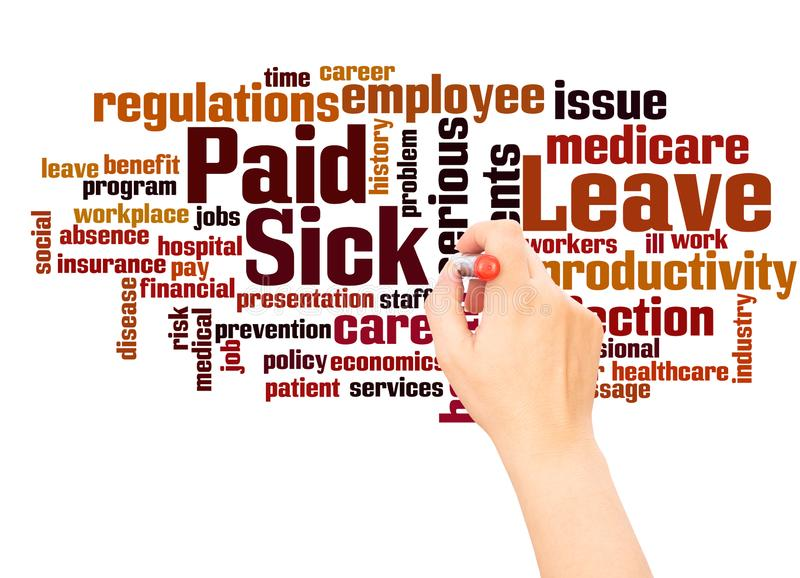 Paid Sick Leave word cloud hand writing concept stock photos