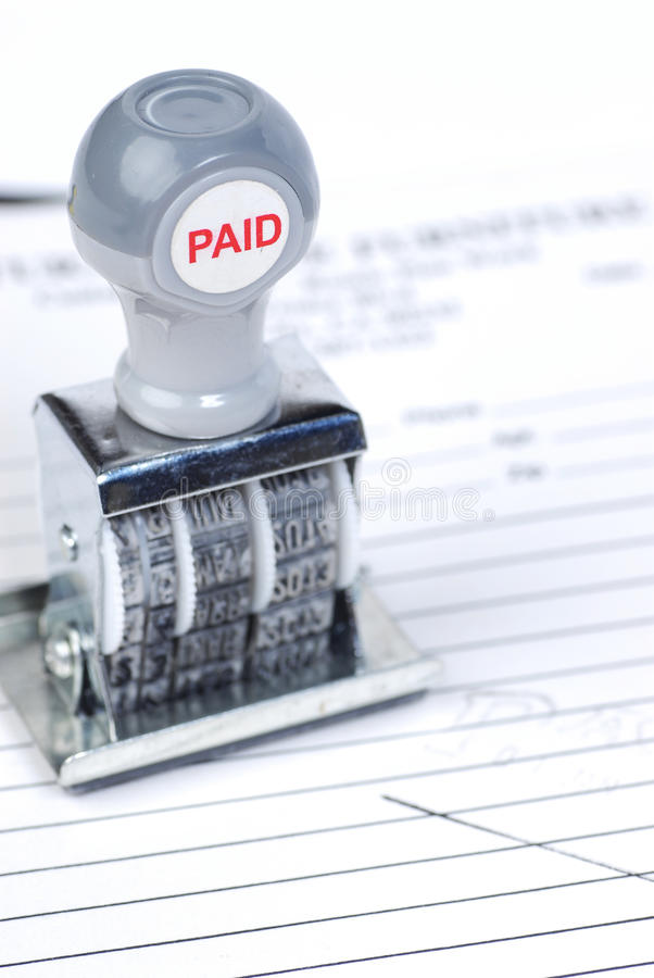 Download Paid stamp on invoice stock photo. Image of movable, stamper - 12569862