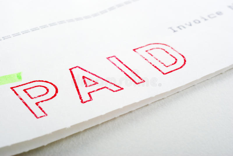 Paid Stamp on Invoice royalty free stock images