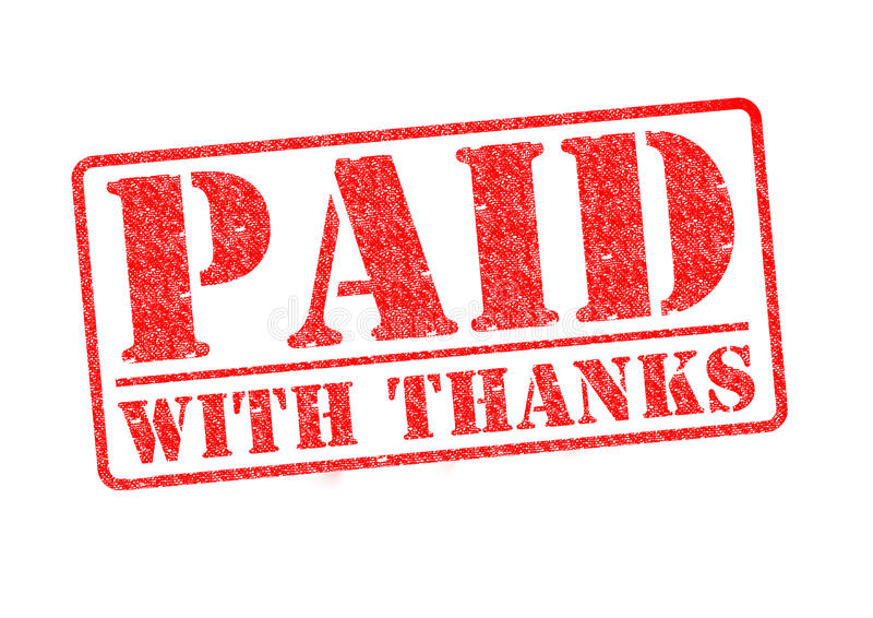 PAID WITH THANKS stock illustration