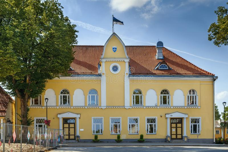 Paide Town Hall, Estonia. Paide Town Hall, with its late art nouveau facade, is on the main square of Paide, Estonia stock photo