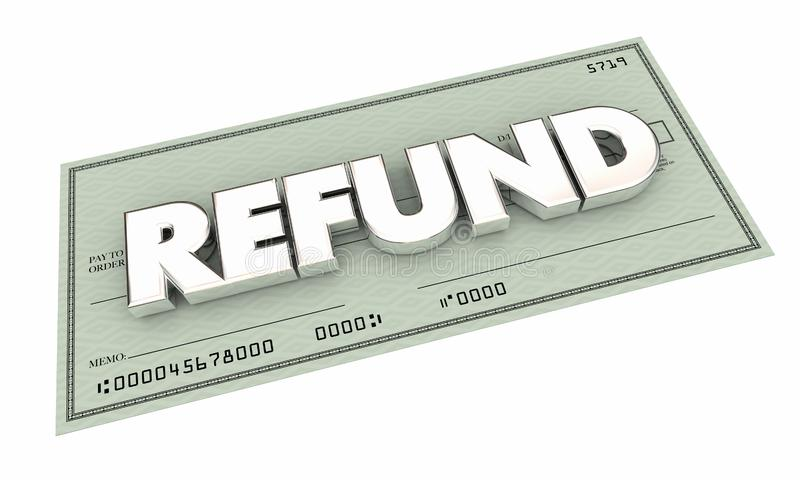 Paiement arrière d'argent de remise de contrôle de remboursement illustration libre de droits