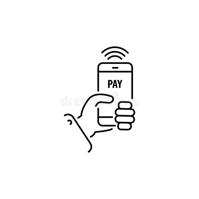 Paiement avec la ligne de smartphone, icône linéaire de vecteur, signe mobile en ligne de paiement illustration libre de droits