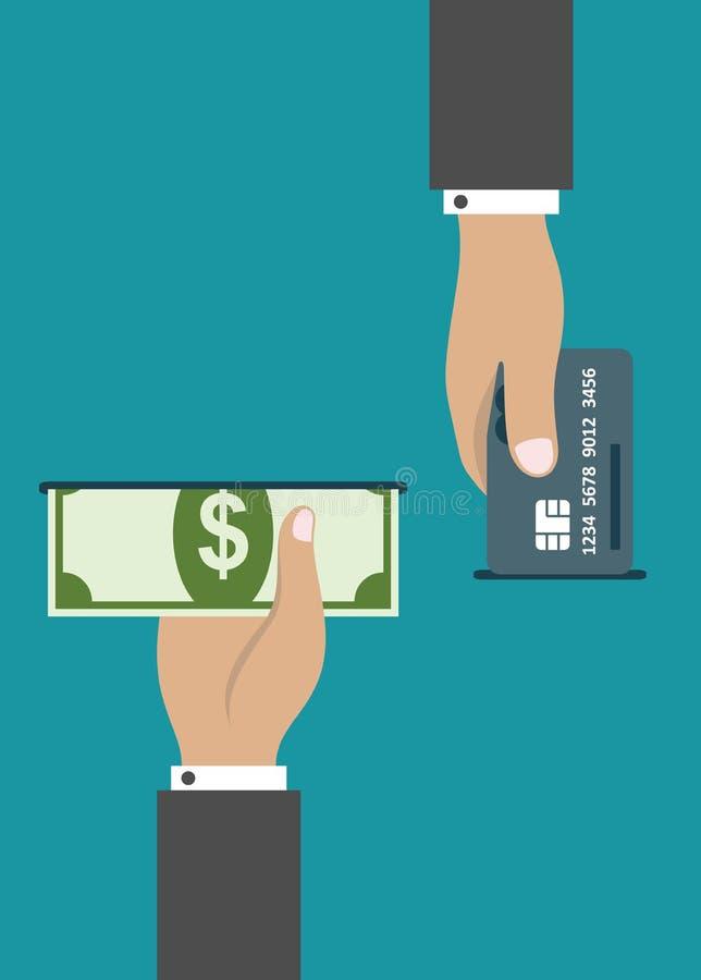 Paiement d'atmosphère par la carte de crédit ou l'argent liquide illustration libre de droits