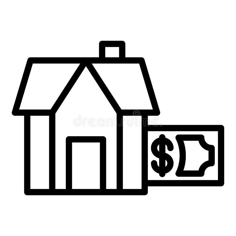 Paiement d'icône de logement d'hypothèque, style d'ensemble illustration stock