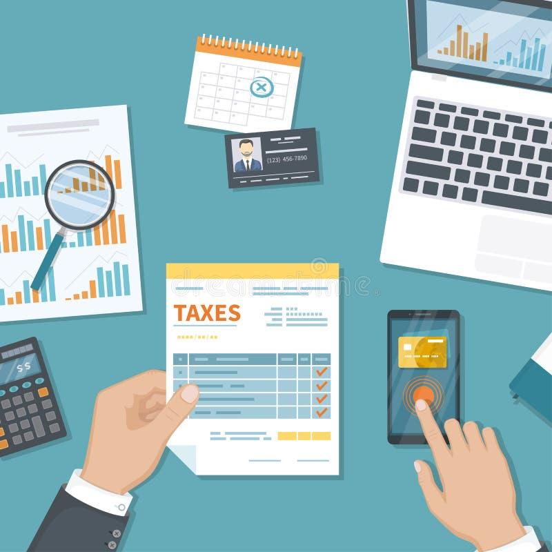 Paiement d'impôts Imposition de gouvernement national Opérations bancaires mobiles, payant L'homme paye des impôts par le service illustration libre de droits