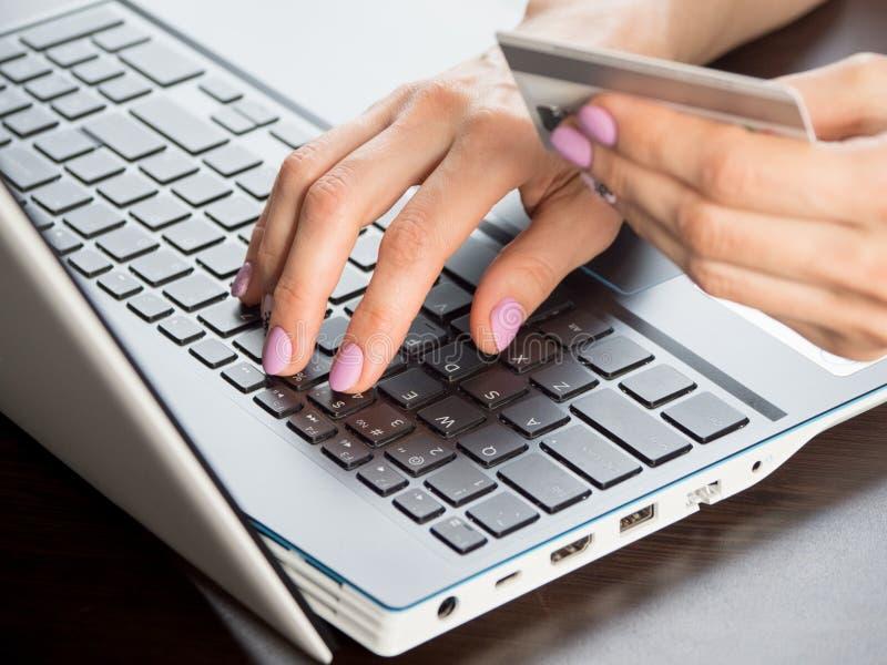 Paiement en ligne à l'aide d'un ordinateur portable, d'une mise au point logicielle, de la fermeture de session images libres de droits