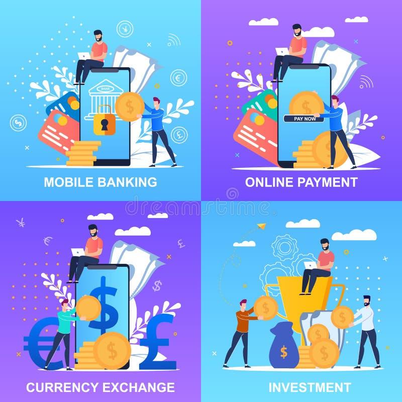 Paiement en ligne d'opérations bancaires mobiles d'inscription d'ensemble illustration de vecteur