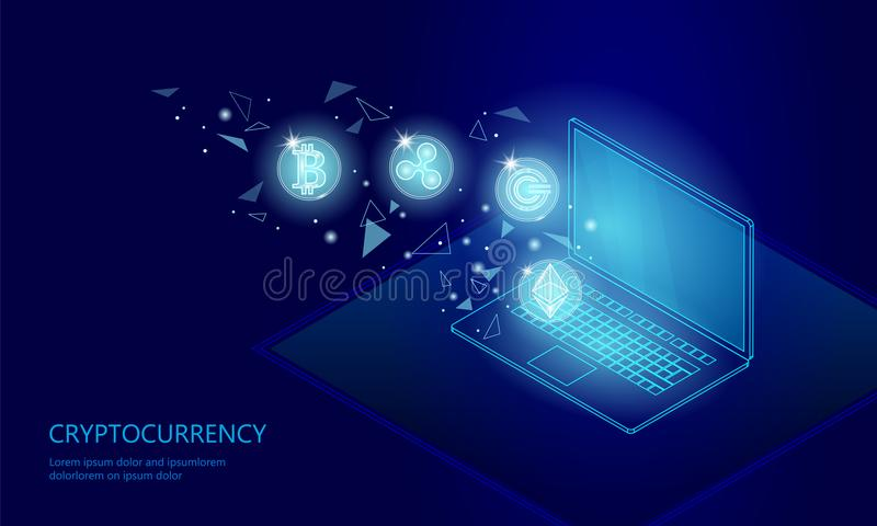 Paiement en ligne de cryptocurrency de pièce de monnaie d'ondulation d'Ethereum Bitcoin d'ordinateur portable de PC de Web numéri illustration libre de droits
