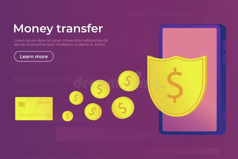 Paiement en ligne Transfert et transaction d'argent sûrs de Digital pour l'usage de la carte de smartphone et de banque illustration stock