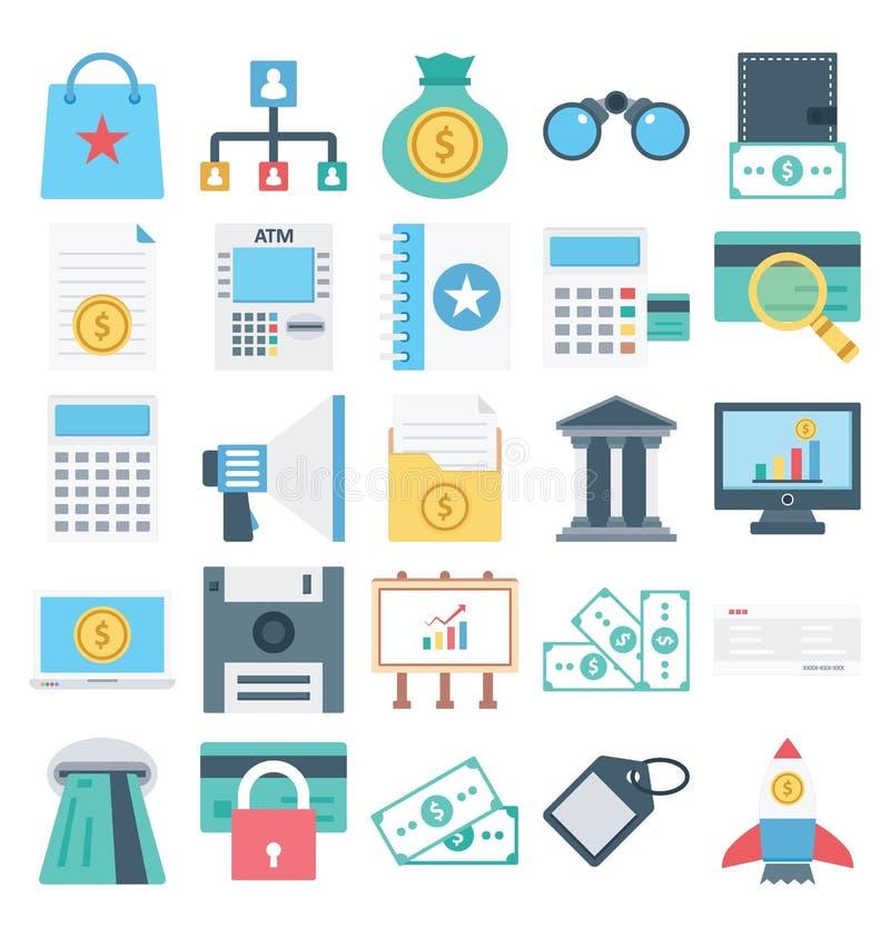Paiement et finances d'isolement et icônes de vecteur réglées pour consister avec des opérations bancaires, des finances, le paie illustration de vecteur