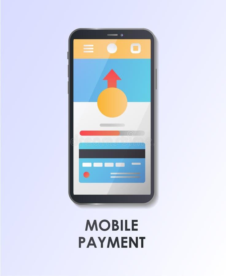 Paiement mobile Conception matérielle UI/UX et GUI Screen Illustration plate de vecteur illustration de vecteur