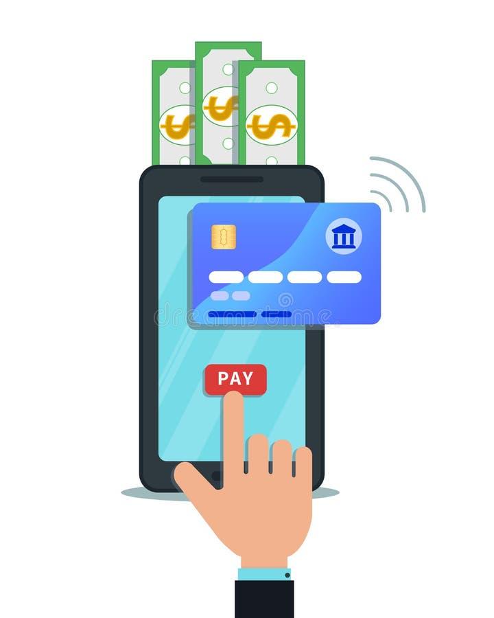Paiement mobile en ligne, transfert d'argent ou concept de achat Doigt de main touchant le bouton de salaire sur l'écran de smart illustration de vecteur