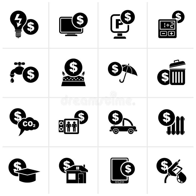 Paiement noir des icônes de factures illustration stock