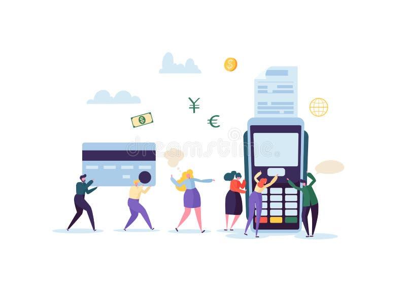 Paiement par carte de crédit par concept terminal avec les personnes plates Transaction financière avec les caractères et l'argen illustration de vecteur