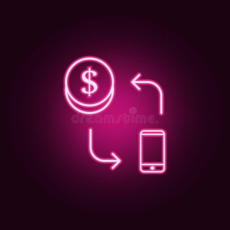 paiement par l'ic?ne au n?on de t?l?phone intelligent ?l?ments d'ensemble de Web E illustration stock