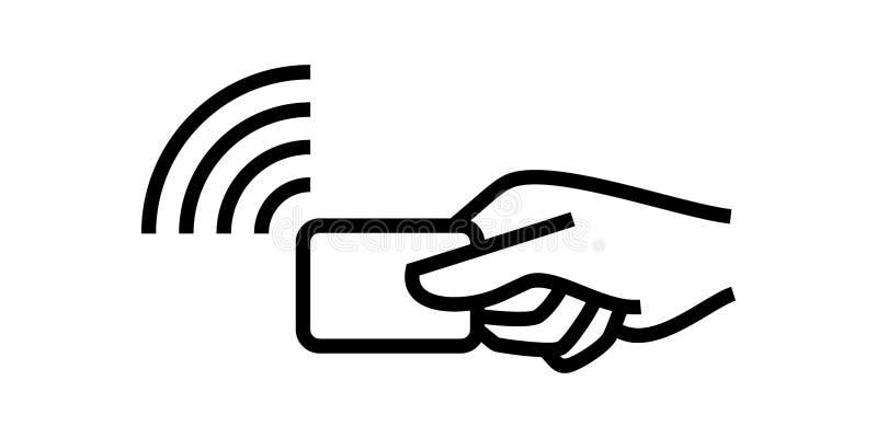 Paiement sans contact, logo de passage de salaire de main de carte de crédit NFC sans fil de vecteur et icône terminale de positi illustration de vecteur