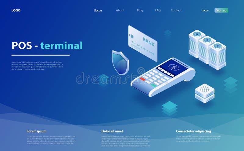 Paiements en ligne et mobiles Terminal de position pour le salaire sans contact Paiement mobile de concept, protection des donnée illustration stock