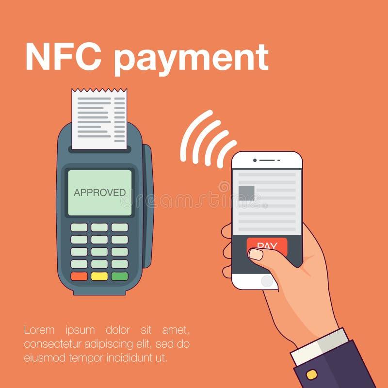 Paiements mobiles avec le smartphone Près du concept de terminal de paiement de communication de champ illustration stock