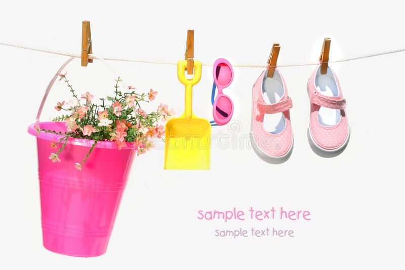 Pail,sunglasses and shoes for child royalty free stock photography