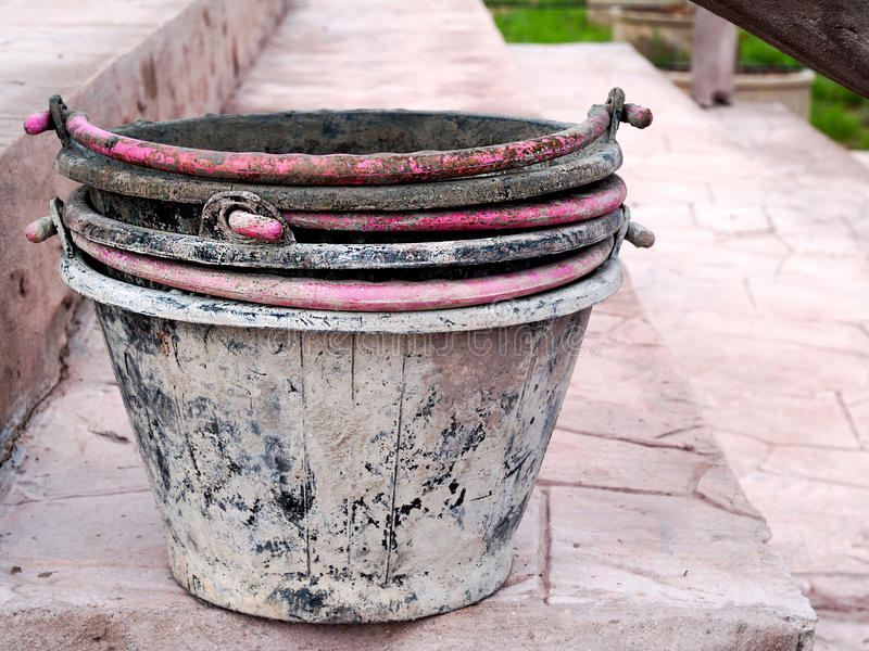 Pail. Used lime in building construction royalty free stock images