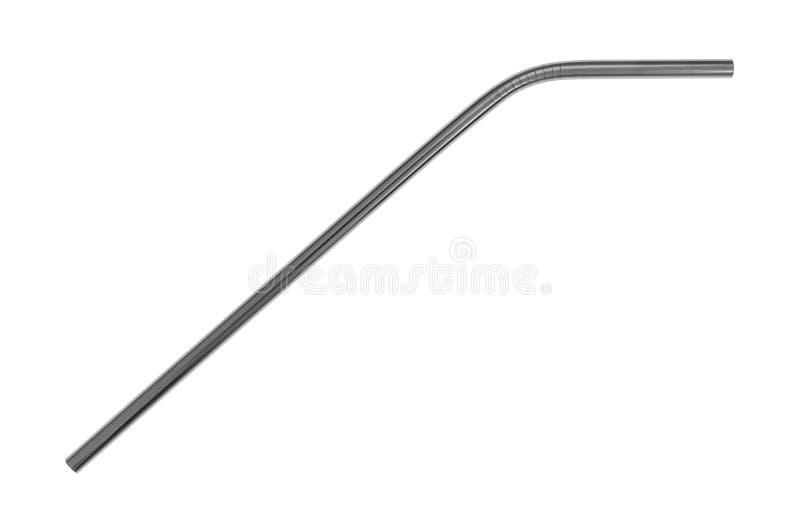 Paille en métal d'acier inoxydable sur un fond blanc image libre de droits
