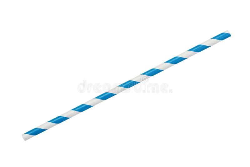 Paille rayée bleue de papier d'eco d'isolement sur le blanc photos libres de droits