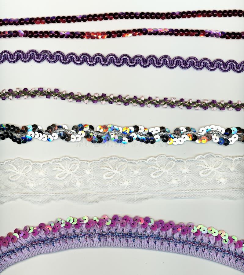 Paillette, Spitze und bördeln Streifen für Modegestaltungselemente stockfotografie