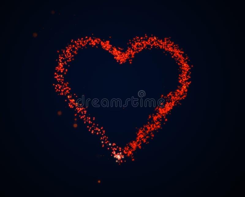 Paillettes rouges de lueur dans en forme de coeur illustration stock