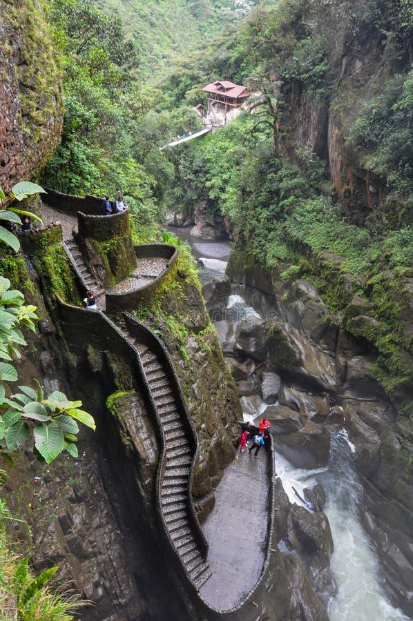 Pailon del Diablo, Banos Santa Agua, Equador imagens de stock royalty free