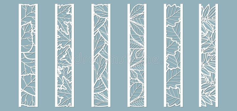 Painéis com teste padrão das folhas Deixa o carvalho, bordo, Rowan, castanha, vidoeiro, cinza Corte do laser Grupo de moldes dos  ilustração do vetor