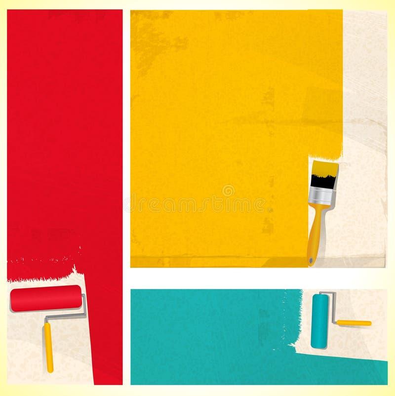 Painéis da escova e do rolo de pintura ilustração stock