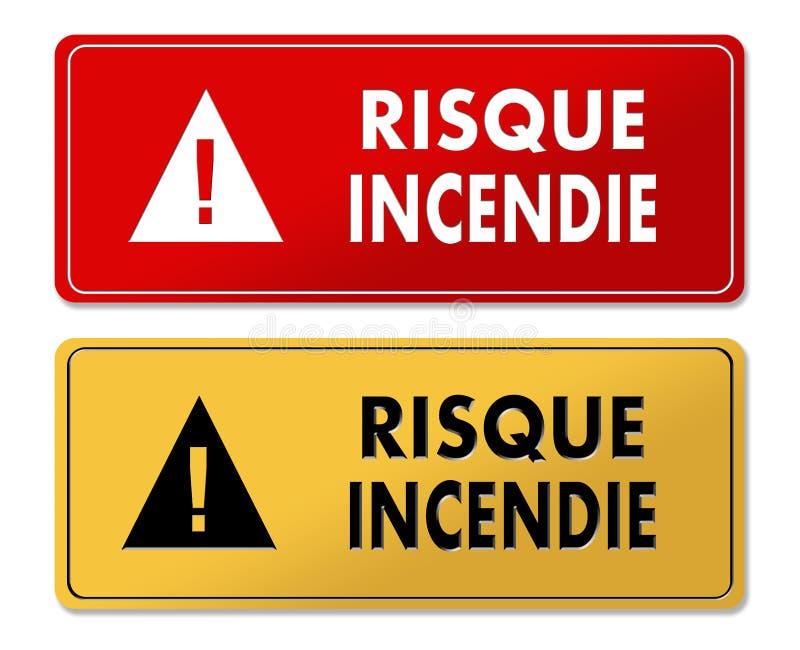 Painéis de advertência do risco de fogo na tradução francesa ilustração royalty free