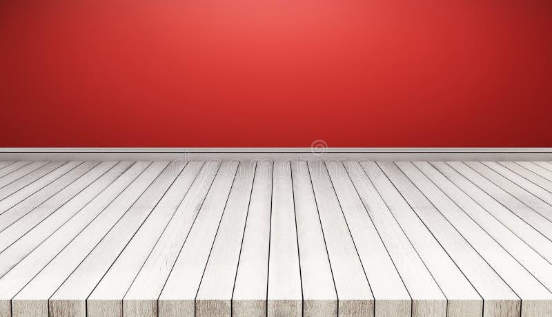 Painéis de assoalho de madeira brancos com parede vermelha Fundo da textura igualmente usado para a exposição ou a montagem seus  ilustração do vetor