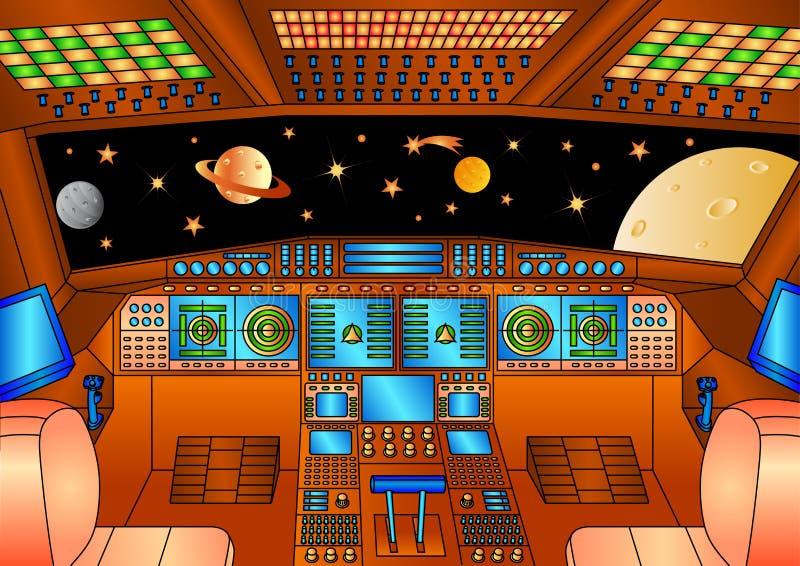 Painéis de controle da nave espacial - versão da cor ilustração do vetor