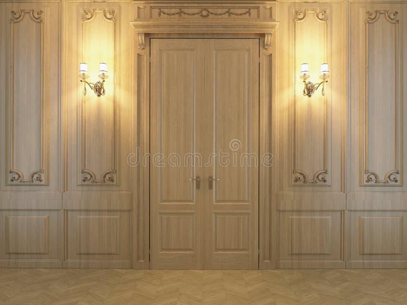 painéis de madeira da rendição 3D no interior fotografia de stock