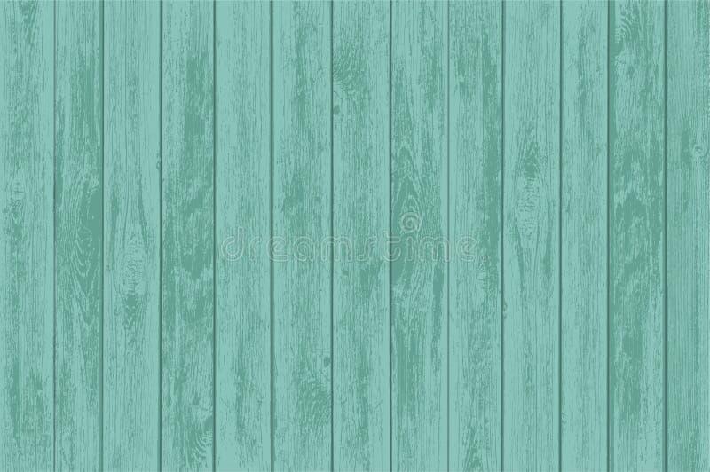 Painéis de madeira verdes da tabela Fundo velho da madeira ilustração royalty free